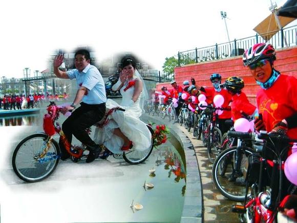单车婚礼高清图片